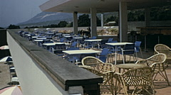 Orebić, Yugoslavia 1972: outdoor bar in a tourist resort Stock Footage