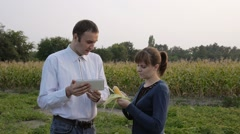 Agronomist and farmer looking at corn quality. They use the tablet. Stock Footage