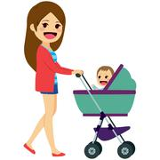 Single Mom Pushing Stroller Stock Illustration