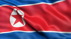 North Korea flag seamless loop. Democratic People's Republic of Korea Stock Footage