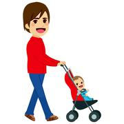 Single Father Pushing Stroller Stock Illustration