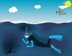 Underwater People, Cartoon  Scuba Diver. Concept of Extreme Divi Stock Illustration