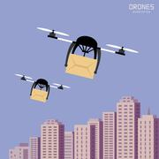 Air drones carrying cardboard, cityscape background Piirros