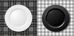 Black & white plate on tablecloth Stock Illustration