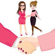 Businesswomen People Shaking Hands Stock Illustration