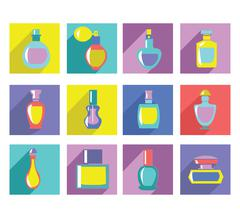 Vector of perfume bottles collection in Flat design. Stock Illustration