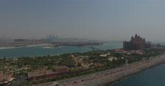 Palm Jumeirah Atlantis Dubai zoom in Stock Footage