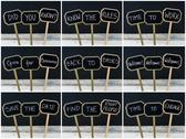 Photo collage of various business messages written on mini blackboard labels Stock Photos