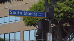 Santa Monica street sign establishing shot Stock Footage