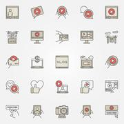Colorful icons for video blog Piirros