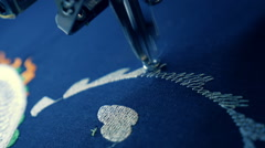 Industrial sewing machine embroiders on program, pattern in the Chinese style Stock Footage