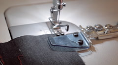 Work area of sewing machine, needle and fabric Stock Footage
