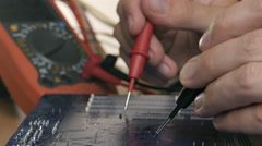 Technician repair motherboard. Technological background Stock Footage