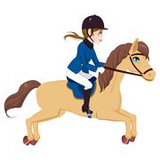 Equestrian Woman Running Horse.. Stock Illustration