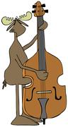 Moose playing a bass fiddle Stock Illustration