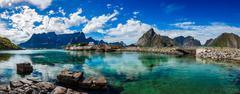 Panorama Lofoten archipelago islands Stock Photos