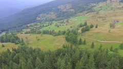 Aerial shot of mountain village in Ukraine Stock Footage