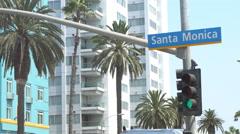 Traffic Light in Santa Monica Stock Footage