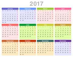 2017 year annual calendar (Monday first, English) Stock Illustration