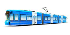Modern city tram isolated on white Stock Photos