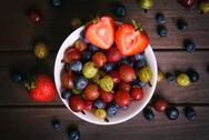 Top view of bowl with berries Stock Photos