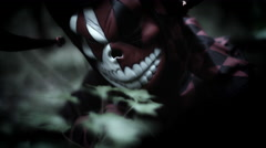 4k Halloween Shot of a Child in Joker Costume Appearing Creepy  Stock Footage