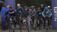Start line of Teenagers  in Cycle schools Cups  in local social park Stock Footage