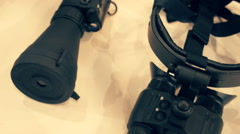 Several options of modern night vision devices and night vision sights Stock Footage