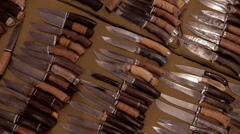 Large selection of hunting knives handmade for sale Stock Footage