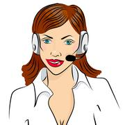 Vector illustration of smiling cute woman working as telephone operator Stock Illustration