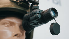 Monocular night vision device on the helmet of special purpose troops Stock Footage
