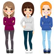Casual Outfit Teenager Girls Stock Illustration