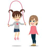 Girl Playing Rope With Friend Stock Illustration
