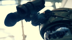 Binocular night vision device on the helmet of special purpose troops Stock Footage