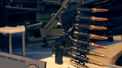 Famous Russian PKM machine gun with magazine full of bullets Stock Footage