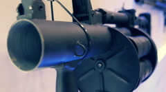 Revolving grenade gun on the wall Stock Footage