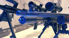 Machine guns on bipod with optic sight Stock Footage