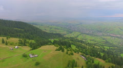 Aerial shoot of village on mountain Stock Footage