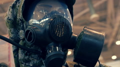 Green chemical suit and gas mask for chemical troops Stock Footage