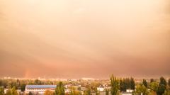 Rainy Sunset Sky. Time Lapse. Stock Footage
