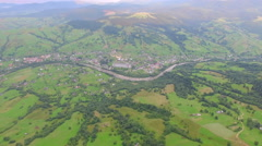 Wonderful aerial video of the village in the valley Stock Footage