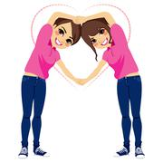 Girls Love Shape With Arms Stock Illustration