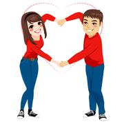 Couple Love Shape Arms Stock Illustration
