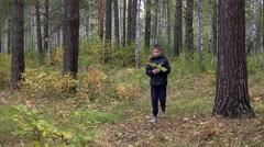 Boy walking in the park Stock Footage