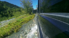 Suv rides on a river Stock Footage