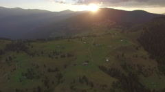 Beautiful sunset in the mountains. aerial footage Stock Footage