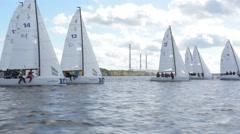 Sailing Boat Navigating Fast During Regatta Stock Footage