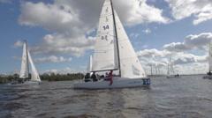 Sailing Boat, Navigating During Regatta Stock Footage