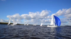 Sailboat Boat Regatta Yachting Racing Dinghy Stock Footage