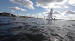 Sailing Boats Navigating Fast During Regatta Stock Footage